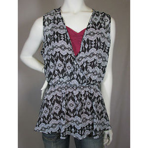 Wet Seal Black White Sheer Cinched Chiffon Top